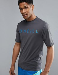O'neill Pioneer Slim Fit T Shirt With Front Logo And High Neck Detail In Grey Asphalt