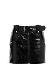 Valentino Belted Leather Mini Skirt Black