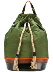 J.W.Anderson Jw Anderson Colour Block Drawstring Backpack Green