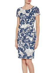 Gina Bacconi Floral Print Satin Dress With Chiffon Band Navy Nude