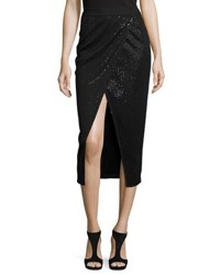 Self Portrait Sequin Wrap Front Midi Skirt Black