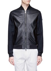 Armani Collezioni Denim Sleeve Leather Blouson Jacket Black