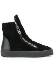 Giuseppe Zanotti Design Shearling Lined Hi Top Sneakers Leather Suede Wool Rubber Black