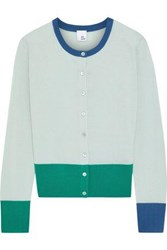Iris And Ink Woman Daisy Color Block Merino Wool Cardigan Mint