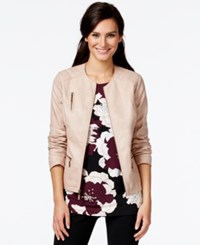 Alfani Zippered Faux Leather Jacket Only At Macy's Light Pink