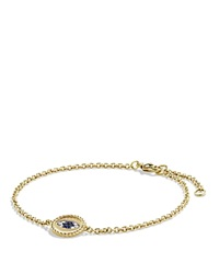 David Yurman Pave Cable Evil Eye Charm With Blue Sapphire Diamonds And Black Diamonds In Gold