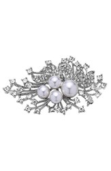Nina Women's 'Crystal Spray' Crystal And Faux Pearl Brooch