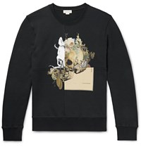 Alexander Mcqueen Printed Loopback Cotton Jersey Sweatshirt Blue