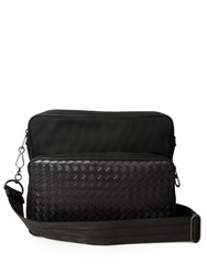 Bottega Veneta Intrecciato Leather And Nylon Messenger Bag Black