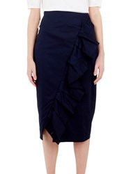 Ted Baker Malori Ruffle Midi Pencil Skirt Navy