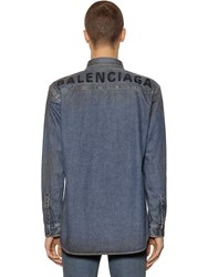 Balenciaga Embroidered Logo Cotton Denim Shirt Blue