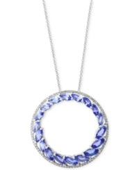 Effy Tanzanite Royale By Tanzanite 2 7 8 And Diamond 1 6 Ct. T.W. Circle Pendant Necklace In 14K White Gold Blue