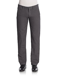 Saks Fifth Avenue Flat Front Cotton Chino Pants Slate