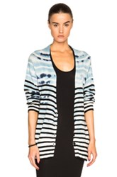 Raquel Allegra Shred Back Cardigan In Blue Stripes Ombre And Tie Dye