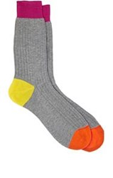 Richard James Ribbed Mid Calf Socks Grey