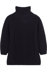 Max Mara Ribbed Wool And Cashmere Blend Sweater Navy