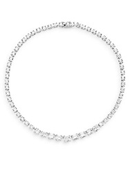 Cz By Kenneth Jay Lane Cushion Strand Necklace Silver