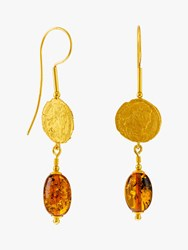 Be Jewelled Baltic Amber Antique Coins Drop Earrings Gold Cognac