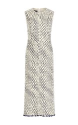 Rochas Sleeveless Wool Sheath Dress Blue