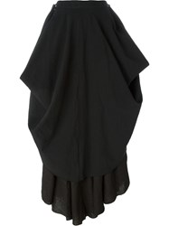 Andrea Ya'aqov Flared Layered Maxi Skirt Black