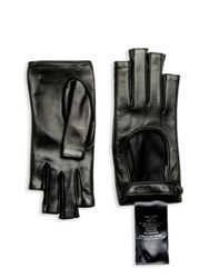 Gucci Donna Fingerless Leather Gloves Black