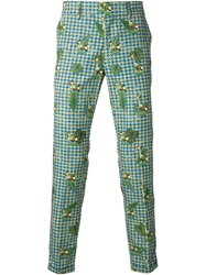 Stella Jean Houndstooth And Bird Print Trousers Multicolour