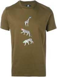 Paul Smith Ps By Animal Print T Shirt Green