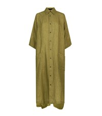 Eskandar Soft Linen Shirt Dress Green