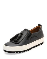 Salvatore Ferragamo Lucca Leather Sneaker With Oversized Tassels On Archival Sawtooth Sole Dark Silver