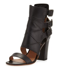 Laurence Dacade Triple Buckle Leather Bootie Black