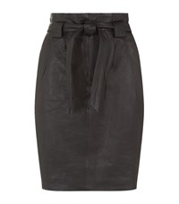 Set Belted Leather Skirt Female Black