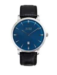 Hugo Boss Tradition Stainless Steel And Leather Strap Watch Black