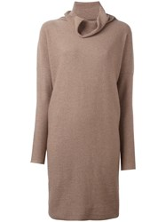 Daniela Gregis Cowl Neck Dress Nude Neutrals