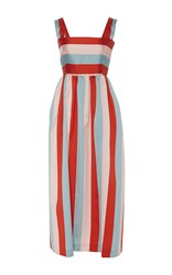 Red Valentino Striped Twill Taffeta Dress Red