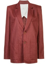 Tibi Canvas Long Blazer Red