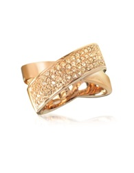 Michael Kors Pave Crystal Twist Rose Golden Stainless Steel Women's Ring Pink