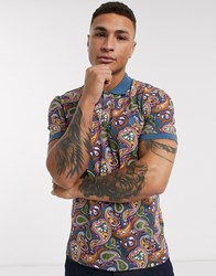 Pretty Green All Over Paisley Print Polo Shirt In Multi Blue