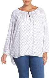 Plus Size Women's Vince Camuto Polka Dot Peasant Blouse Ultra White