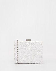 Chi Chi London Chi Chi Box Clutch With Crochet Overlay White