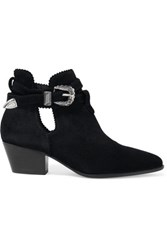 Sandro Buckle Detailed Cutout Suede Boots Black