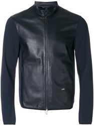 Emporio Armani Zip Up Jacket Cotton Sheep Skin Shearling Polyamide Spandex Elastane Xl Blue