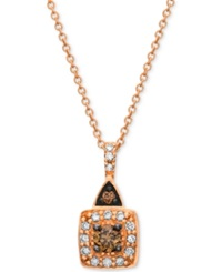 Chocolate By Petite Le Vian Brown And White Diamond 1 4 Ct. T.W. Square Pendant In 14K Rose Gold