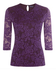 Hotsquash Long Sleeved Lace Top Purple
