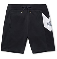 Moncler Gamme Bleu Slim Fit Chevron Detailed Cotton Jersey Shorts Midnight Blue