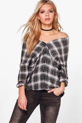 Boohoo Rosie Checked Off The Shoulder Shirt Black