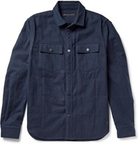 Marc By Marc Jacobs Quilted Brushed Cotton Flannel Overshirt Blue
