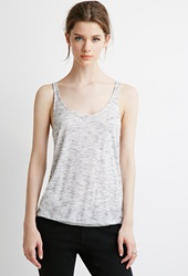 Forever 21 Marled Knit Pleated Back Tank White Oatmeal