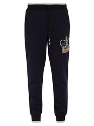 Dolce And Gabbana Crown Embroidered Cotton Track Pants Navy