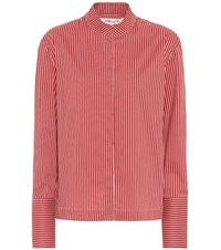 Diane Von Furstenberg Striped Cotton Blend Shirt Red
