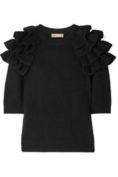 Michael Kors Collection Starlet Ruffled Cashmere Sweater Black